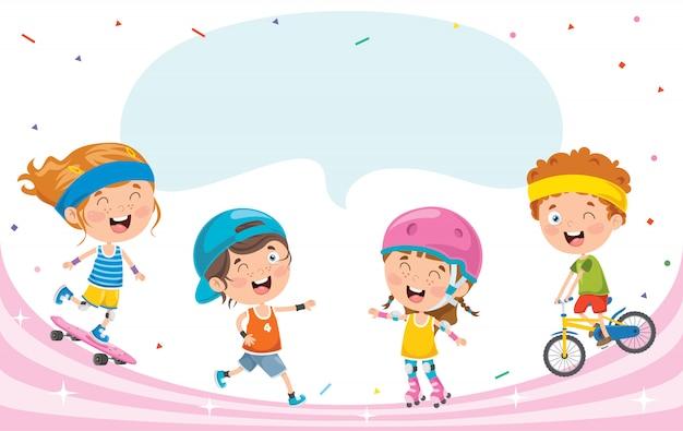 Piccoli bambini felici che fanno sport