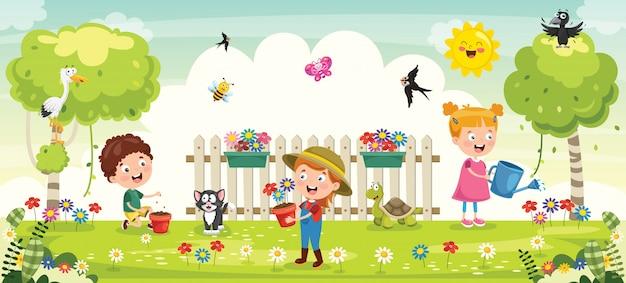Piccoli bambini giardinaggio e piantare