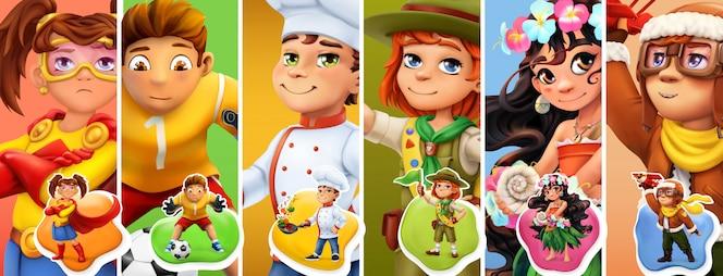 Piccoli bambini in costume. supereroe, calciatore, cuoco, scout, pilota