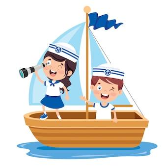 Piccoli bambini svegli in uniforme del marinaio