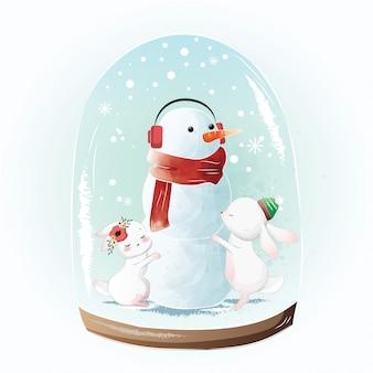 Piccoli coniglietti che abbracciano il pupazzo di neve