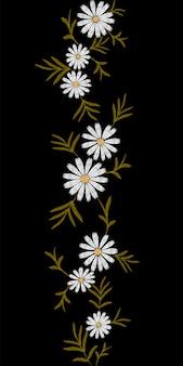 Piccoli rami del bordo senza cuciture del modello floreale di tendenza del ricamo
