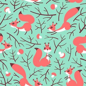 Piccoli scoiattoli carini nella foresta di autunno. seamless pattern autunnale
