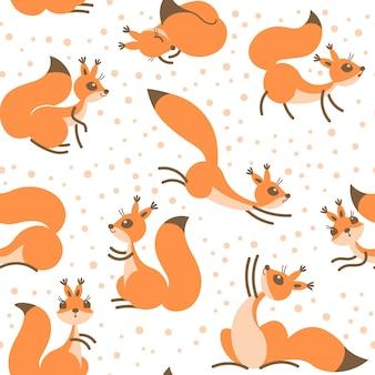 Piccoli scoiattoli carini sotto le nevicate. modello invernale senza soluzione di continuità per confezioni regalo, carta da parati
