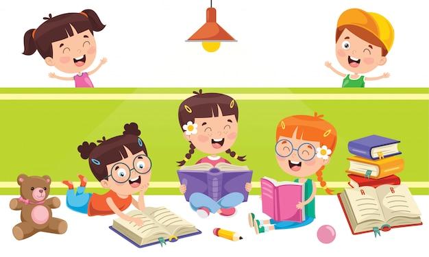 Piccoli scolari che studiano e che imparano