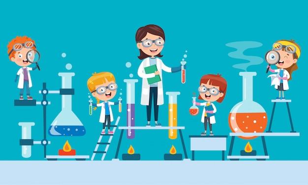 Piccoli studenti che fanno esperimento chimico