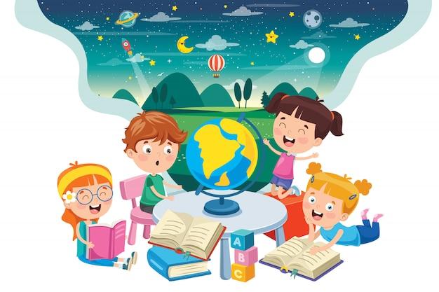 Piccoli studenti che studiano geografia