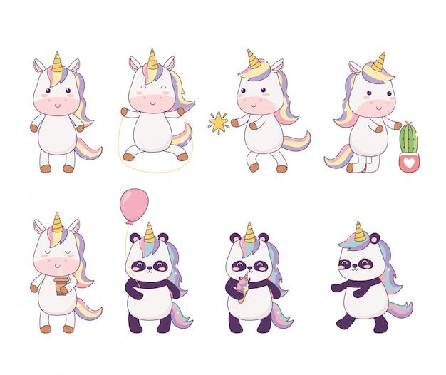 Piccoli unicorni e panda kawaii con fantasia magica di personaggio dei cartoni animati