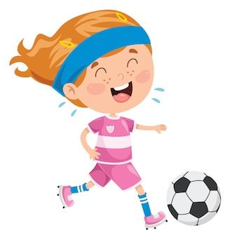 Piccolo bambino che gioca a calcio fuori