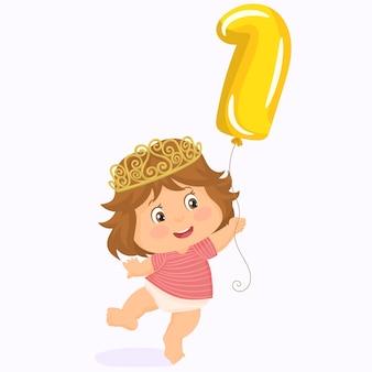 Piccolo bambino con corona. primo compleanno.