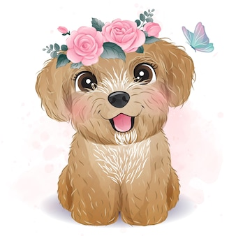 Piccolo barboncino sveglio con l'illustrazione floreale