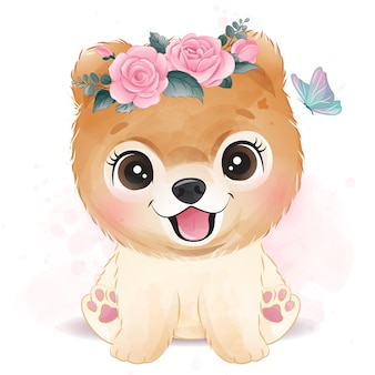 Piccolo cane sveglio con l'illustrazione floreale