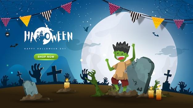 Piccolo carino zombie su sfondo notte oscura