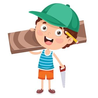Piccolo carpentiere del fumetto che lavora con il legno