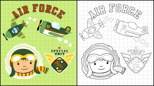 Piccolo cartone animato pilota con aerei