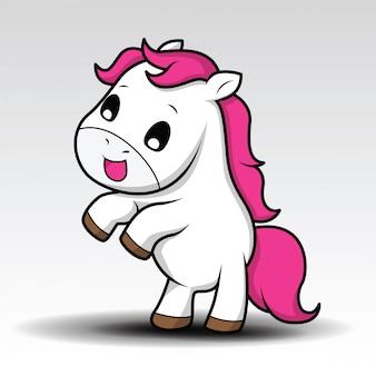 Piccolo cavallo bianco del bambino sveglio del fumetto con capelli rosa