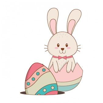 Piccolo coniglio con carattere di pasqua verniciato rotto uovo