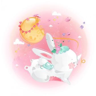 Piccolo coniglio e luna svegli nel cielo luminoso.