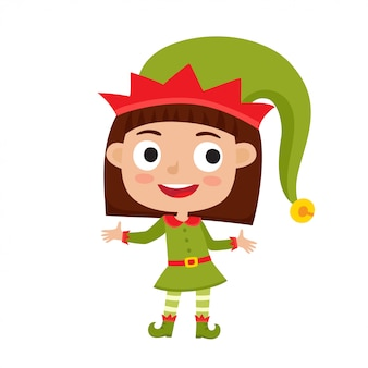 Piccolo elfo sveglio della ragazza di natale in costume verde che sorride e che si leva in piedi
