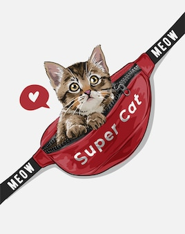 Piccolo gatto nell'illustrazione rossa del marsupio