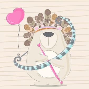 Piccolo orso disegnato a mano animale illustrazione-vettore