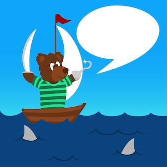 Piccolo orso pirata dice con bolla spech arenata in mezzo al mare