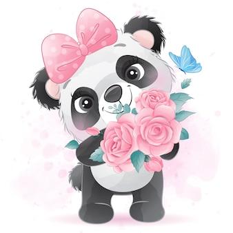 Piccolo panda sveglio che tiene una rosa