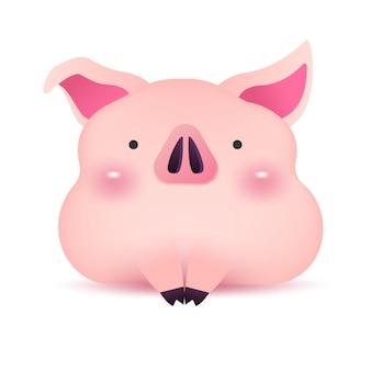 Piccolo personaggio di saluto piggy per il nuovo anno cinese.