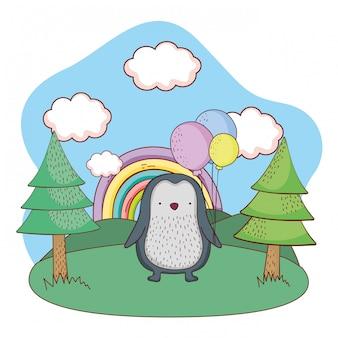 Piccolo pinguino sveglio con l'elio dei palloni nel campo