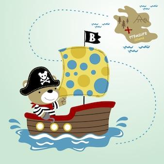 Piccolo pirata sulla barca a vela