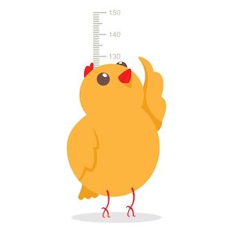 Piccolo pollo sveglio che misura l'altezza sulla dimensione di crescita del grafico della parete del tester.