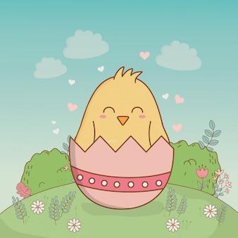 Piccolo pulcino con carattere di pasqua rotto uovo