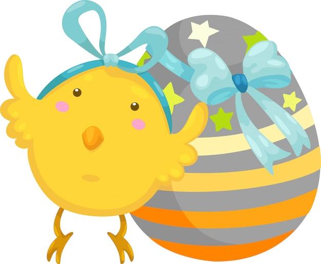 Piccolo pulcino con il vettore dell'uovo di pasqua