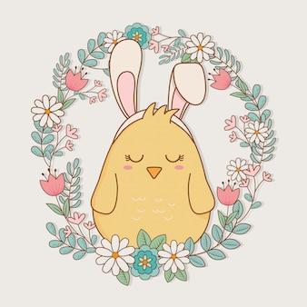Piccolo pulcino con orecchie coniglio carattere pasquale
