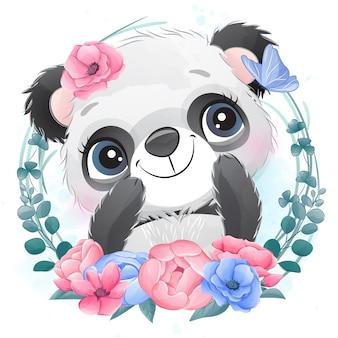 Piccolo ritratto sveglio del panda con floreale
