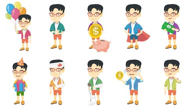 Piccolo set di caratteri asiatici del ragazzo