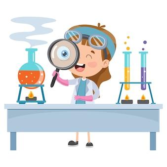 Piccolo studente che fa esperimento chimico