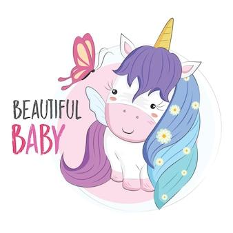 Piccolo unicorno con i capelli arcobaleno