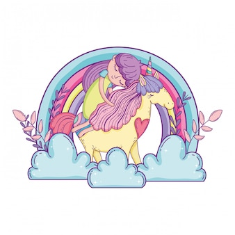 Piccolo unicorno e principessa con arcobaleno tra le nuvole
