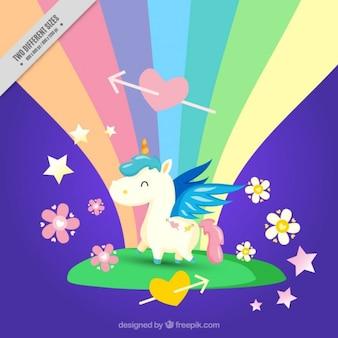 Piccolo unicorno felice con sfondo arcobaleno