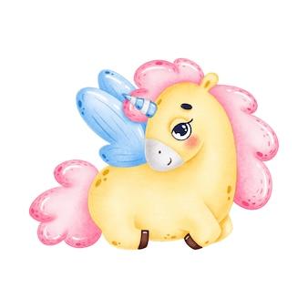 Piccolo unicorno giallo sveglio con le ali blu su una priorità bassa bianca