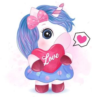 Piccolo unicorno sveglio che abbraccia un'illustrazione di amore