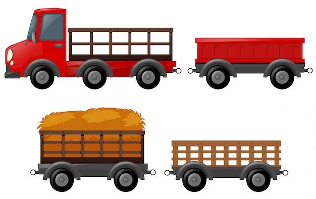 Pick up truck e diversi modelli di carrelli