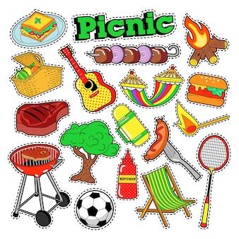 Picnic bbq doodle adesivi, badge, toppe per scrapbooking.