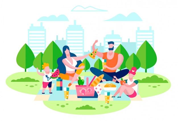Picnic della famiglia nel concetto piano di vettore del parco della città