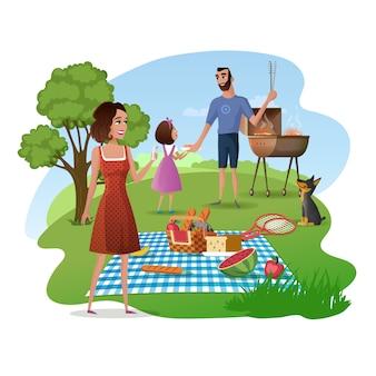 Picnic della famiglia nel vettore del fumetto del giardino o del parco