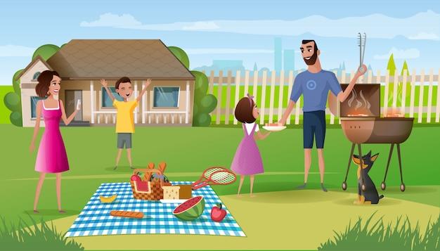 Picnic della famiglia sul vettore del fumetto dell'iarda della casa di campagna