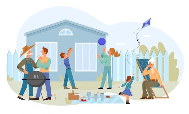 Picnic della gente della famiglia, illustrazione all'aperto di svago