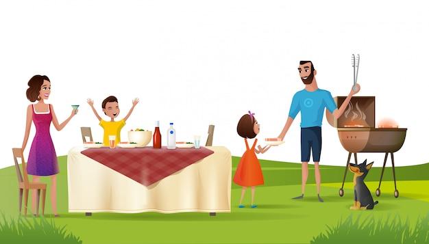 Picnic felice della famiglia sul vettore verde del fumetto di prestito