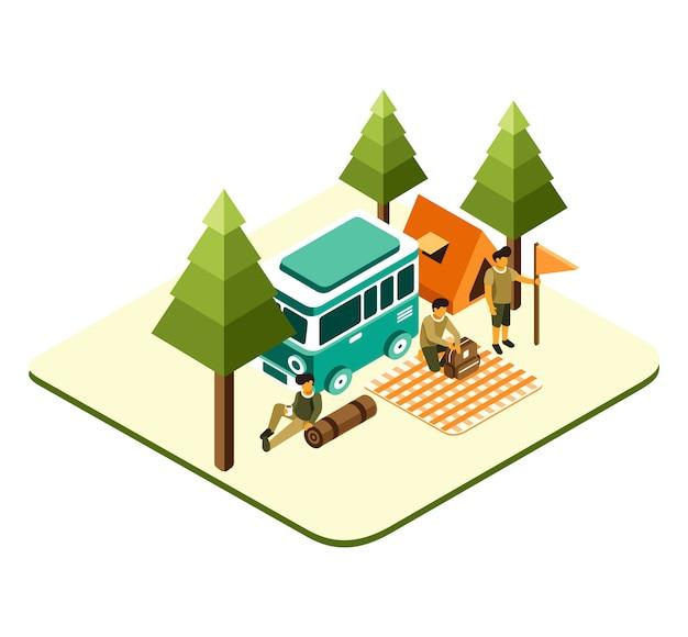 Picnic isometrico e campeggio